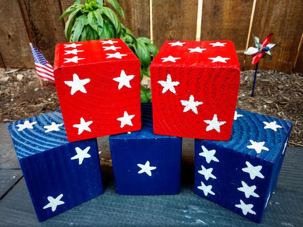 Patriotic American Wood Yard Dice