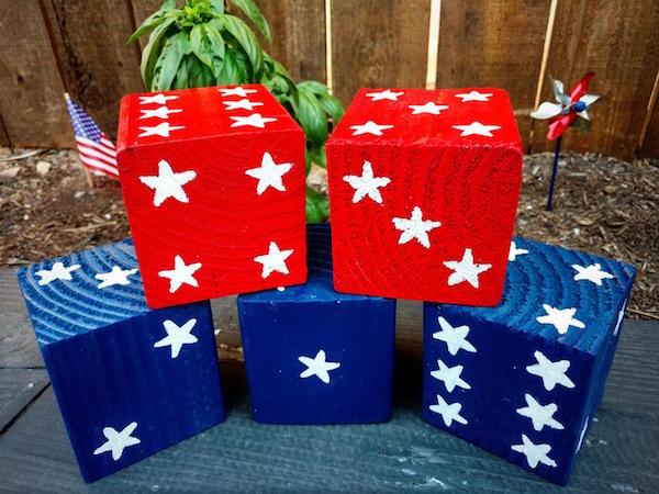 Patriotic American Wood Yard Dice