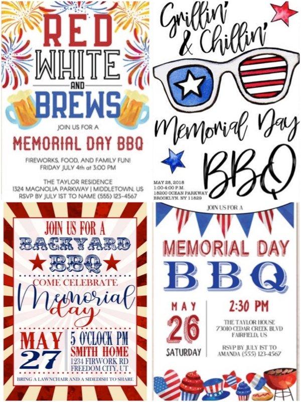 Printable Memorial Day Invites