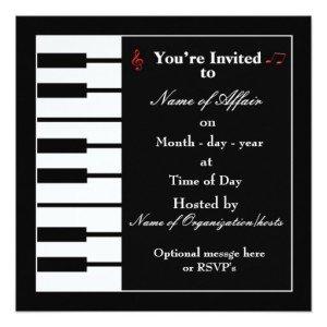 Piano note music party invitation