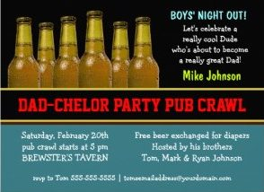 dad chelor party pub crawl diaper beer invitations