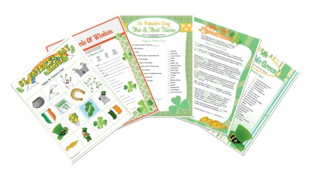 St Patrick's Day Printable Games, Irish Theme Printable Games