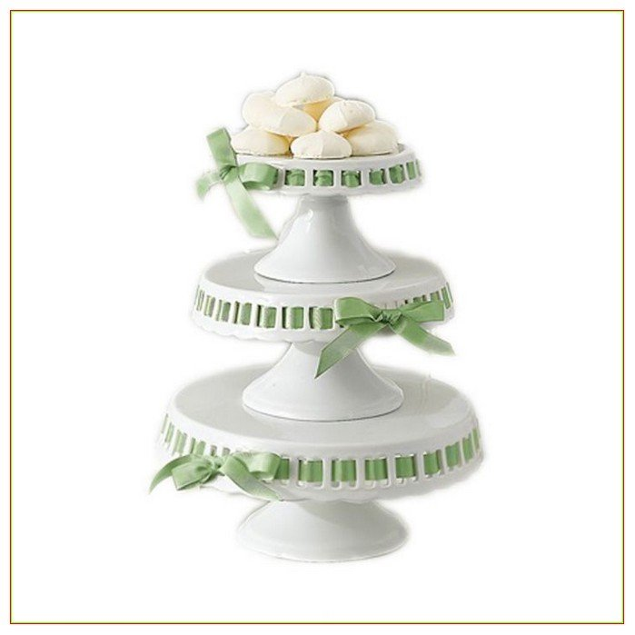 Beautiful Tabletop Accessories, Ceramic White Cake Plates With Green Ribbon