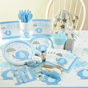 Umbrellaphants Blue Baby Shower Party Supplies