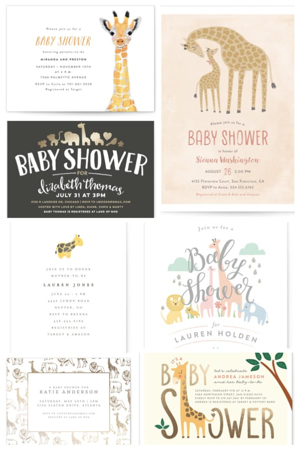 Giraffe Themed Baby Shower Invitations