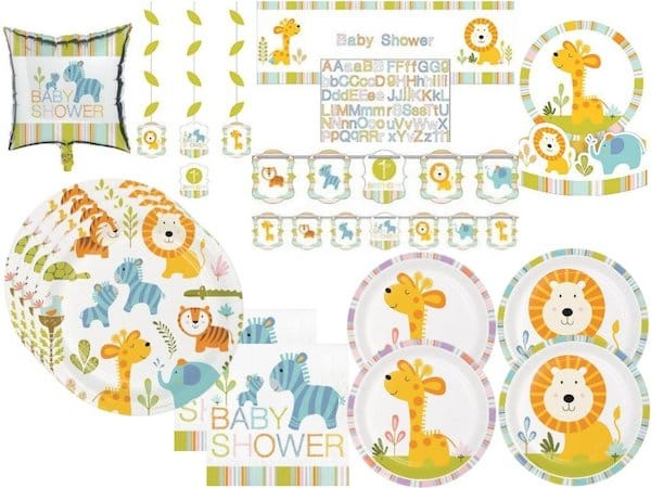 Happi Jungle Baby Shower Party Tableware and Decorations Kit