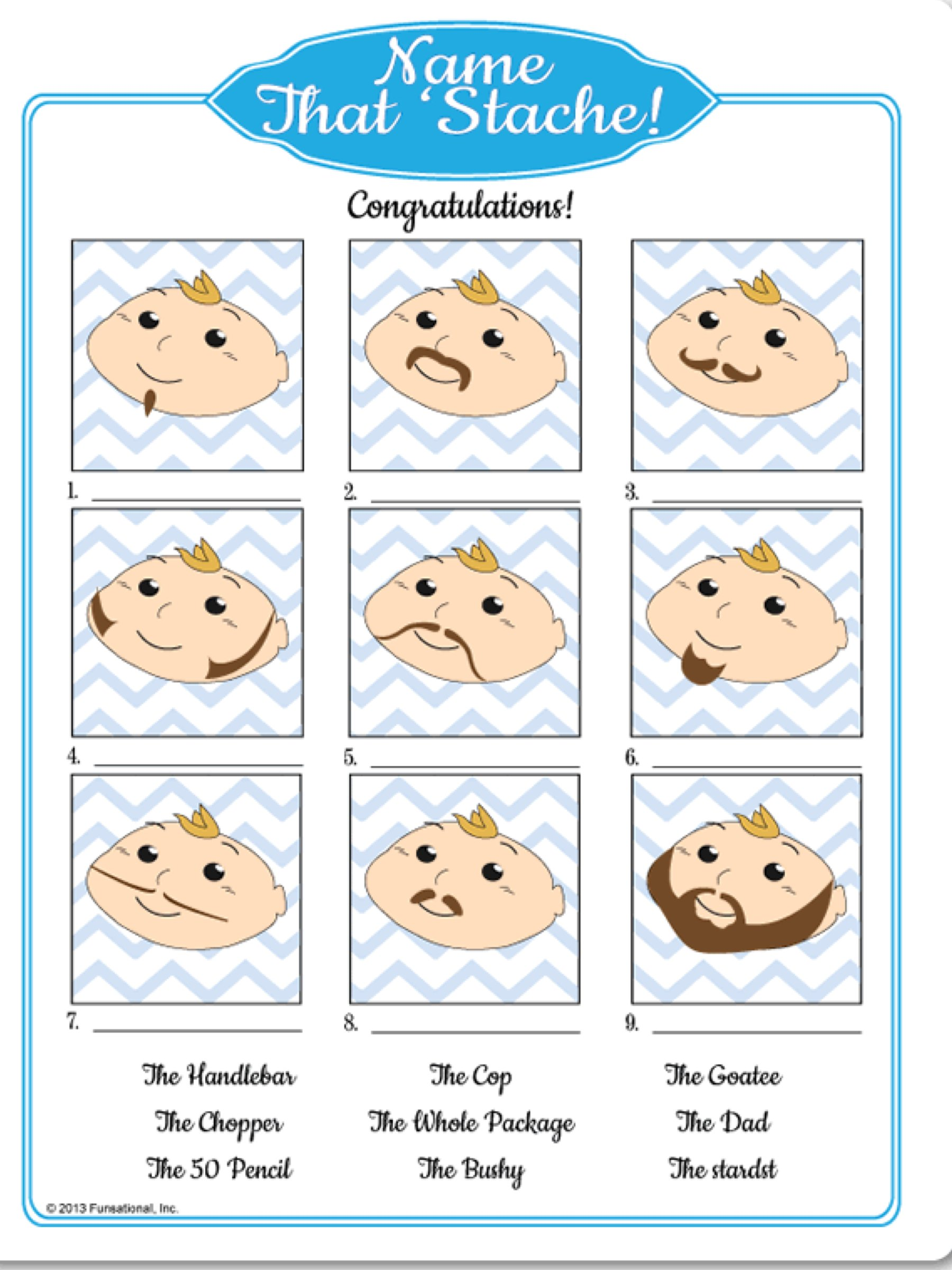 Name that mustache printable baby shower mustache bash game