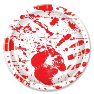 Bloody Hand Print Halloween Party Plates
