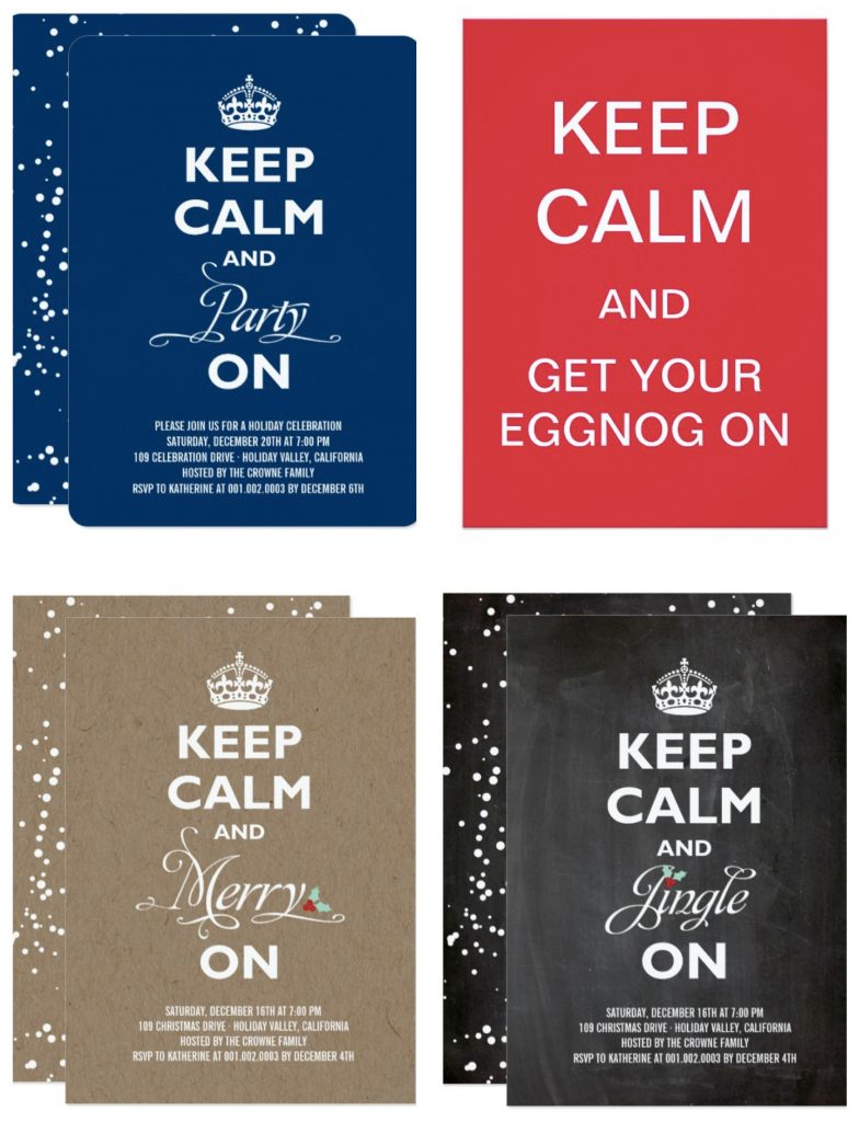 Keep Calm Holiday Party Invitations | Christmas Party Ideas ...