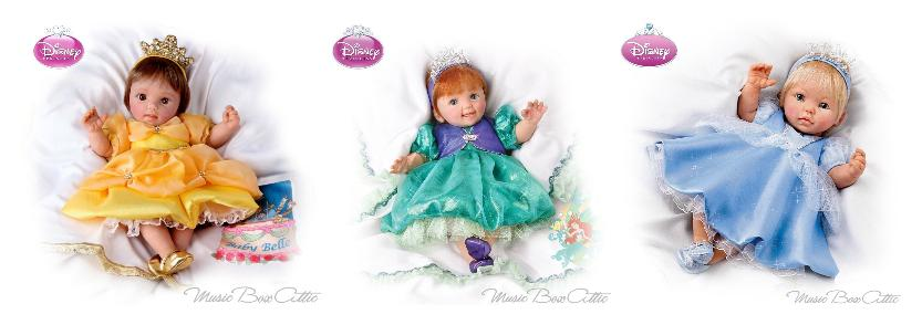 Perfect Grandparent Gift, Musical Dolls, Ashton-Drake, Disney Princess Oceans of Dreams musical baby dolls, Ariel, Cinderella, Belle,
