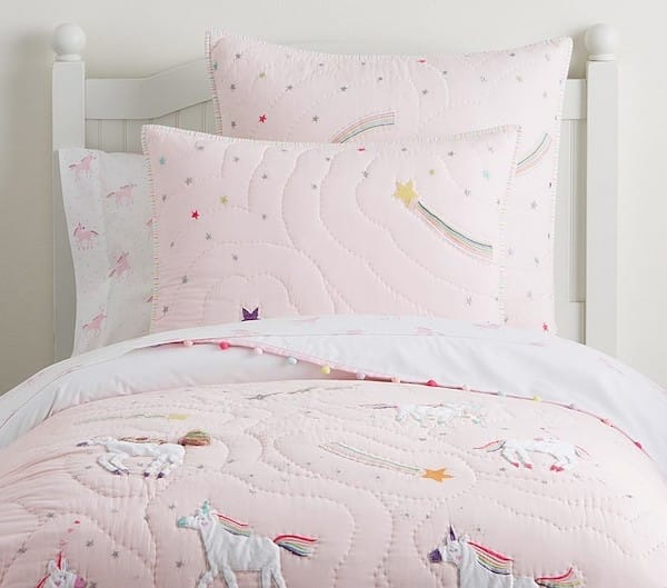 Unicorn Room Decor - Rainbow Unicorn Quilt and Bedding