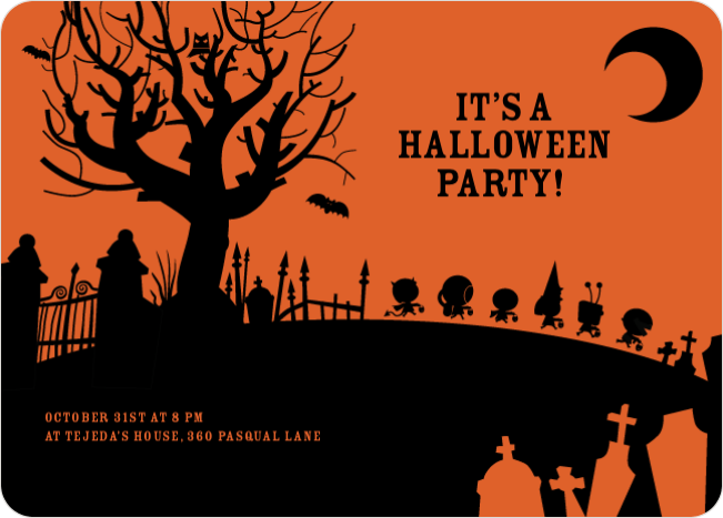 Spooky Cemetery Halloween Party Invitations