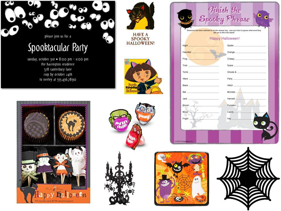 Spooky Halloween Party, invitations, favors, decor, games, paper goods,