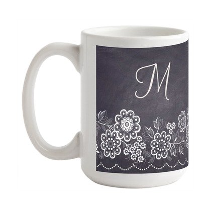 Chalkboard Blossoms Mug, teacher gift, holiday gifts, chalkboard chic