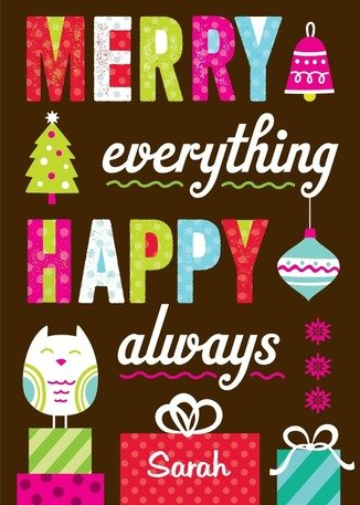 Merry Everything Happy Always Holiday cards, Tiny Pirnts holiday card sale, greeting cards, Christmas cards