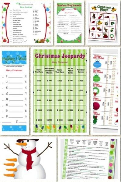 Christmas Printable Games, holiday parties