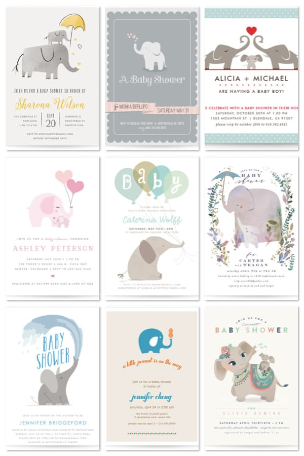 Elephant Baby Shower Invitations