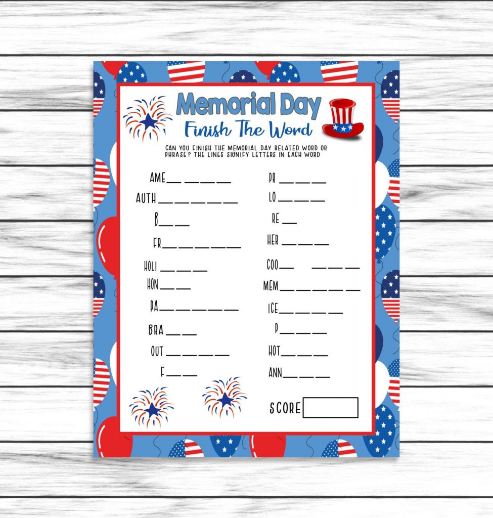 Memorial Day Finish The Word Printable Game