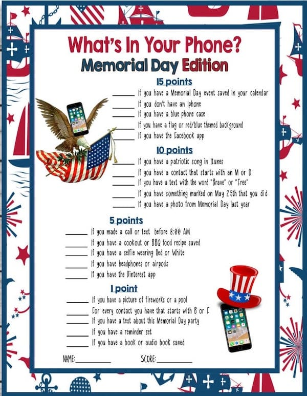 Printable Game - Whats in Your Phone Memorial Day Edition