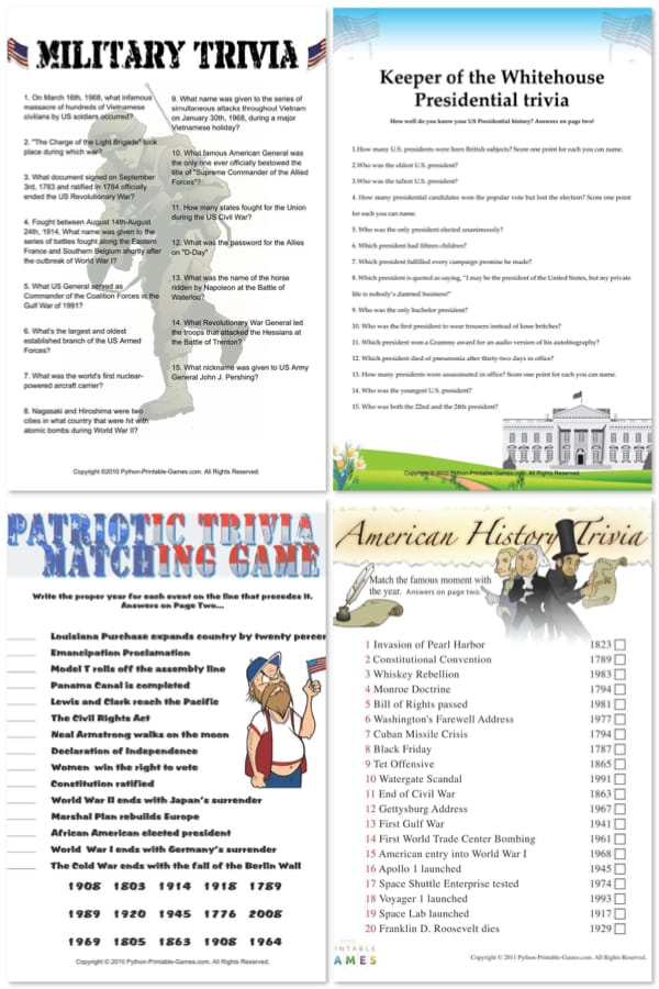 Printable Patriotic Games For Your Memorial Day Party