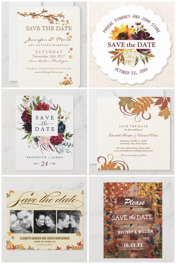 Autumn Wedding Save the Dates