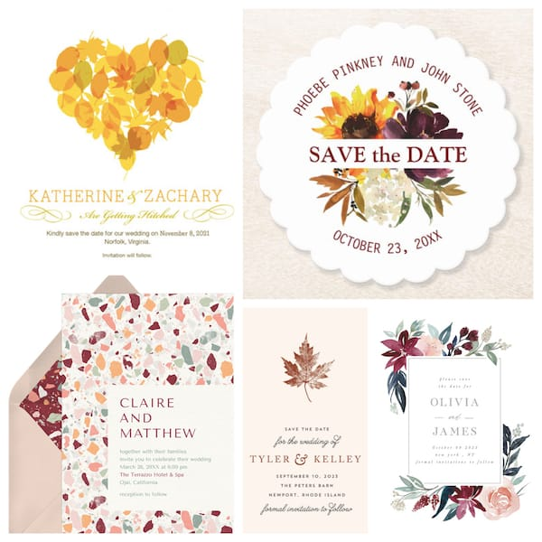 Fall Wedding Save the Dates and Invitations