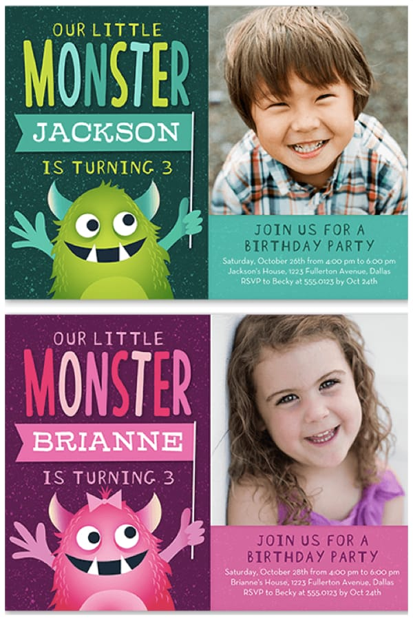 Celebrate Your Little Monster Birthday Party Invitations