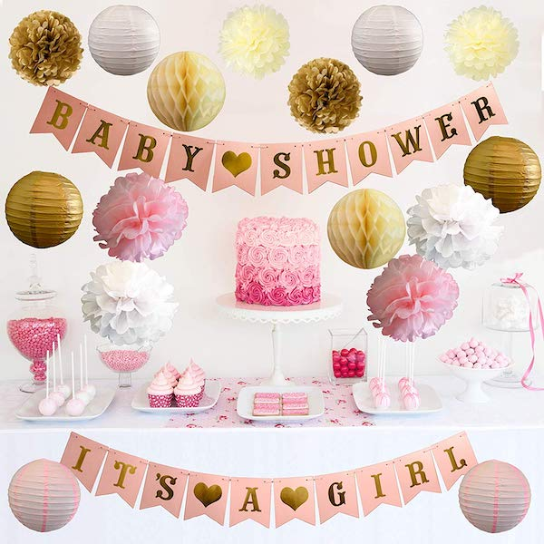 Pink and Gold Its a Girls Baby Shower Decor