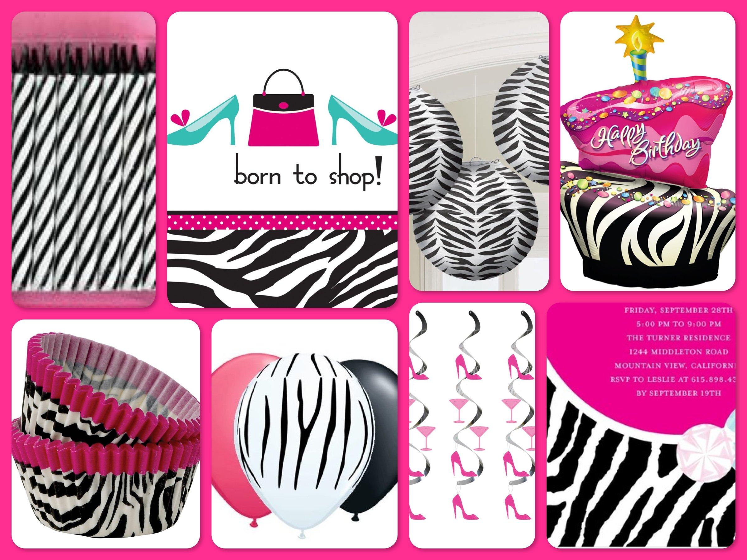 Born to Shop Pink Zebra Birthday Party