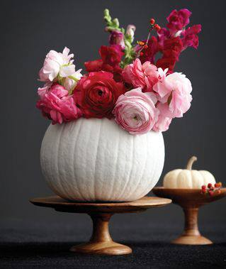 Painted Pumpkin Vase with Flowers