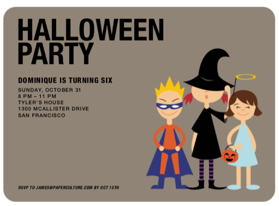 Super Hero, Witch & Angel Halloween Party Invitations