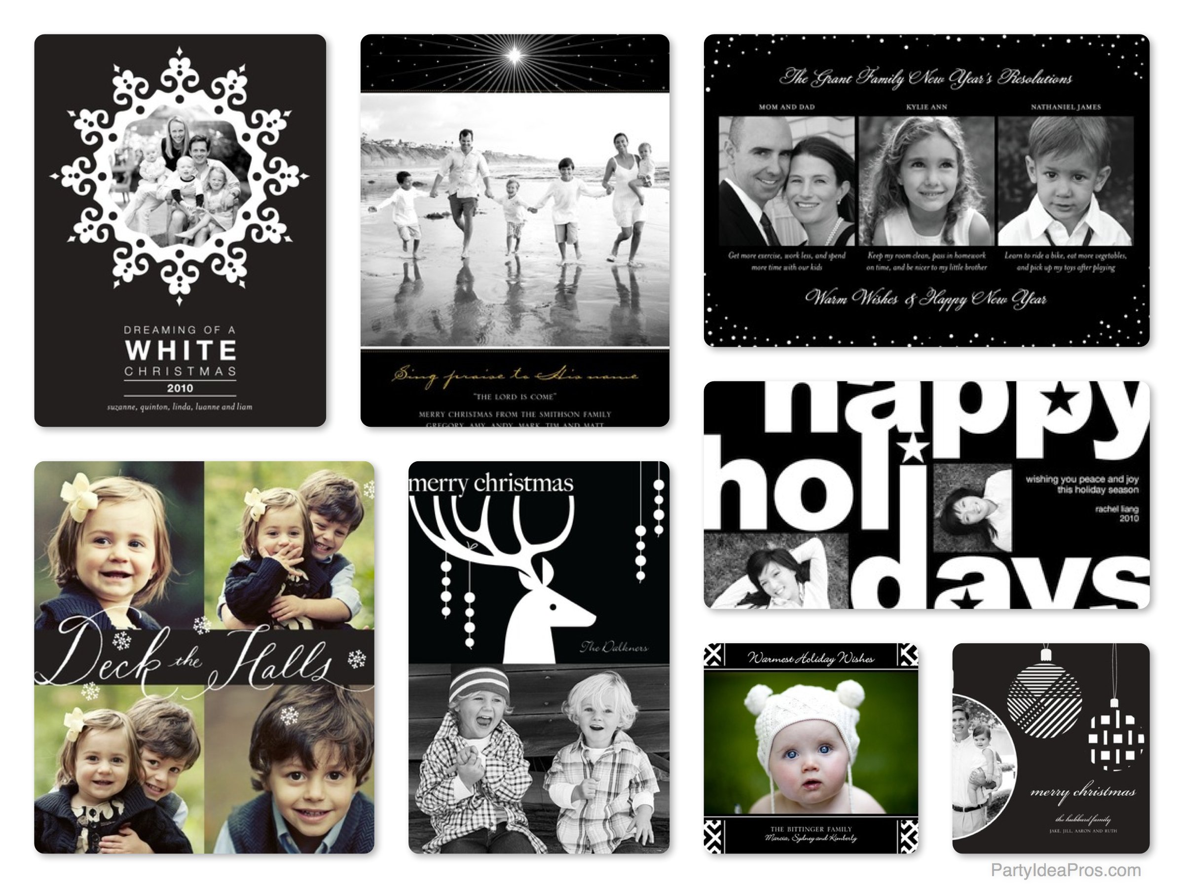 Chic, Stylish Black & White Holiday Cards