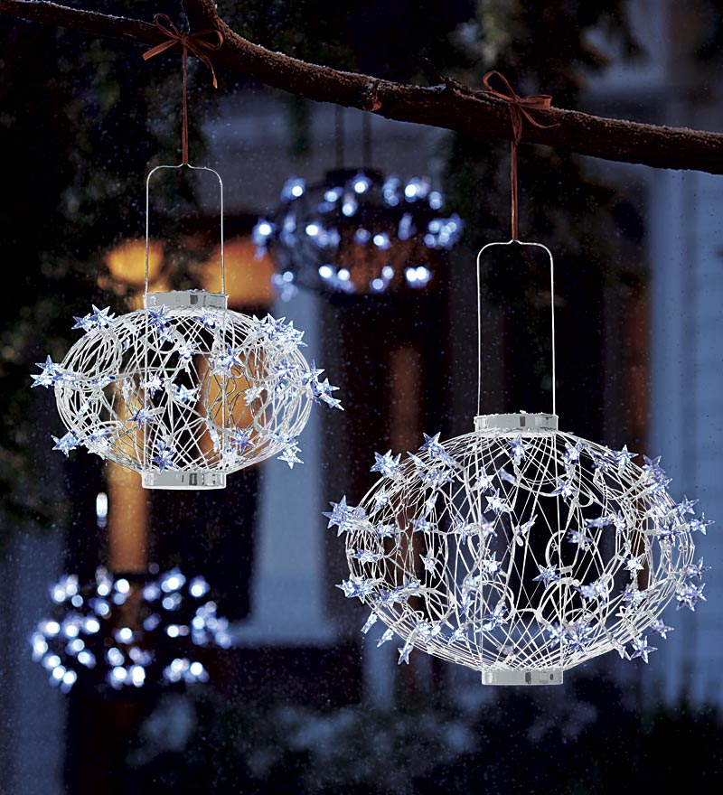 White Solar Christmas Ball Lanterns