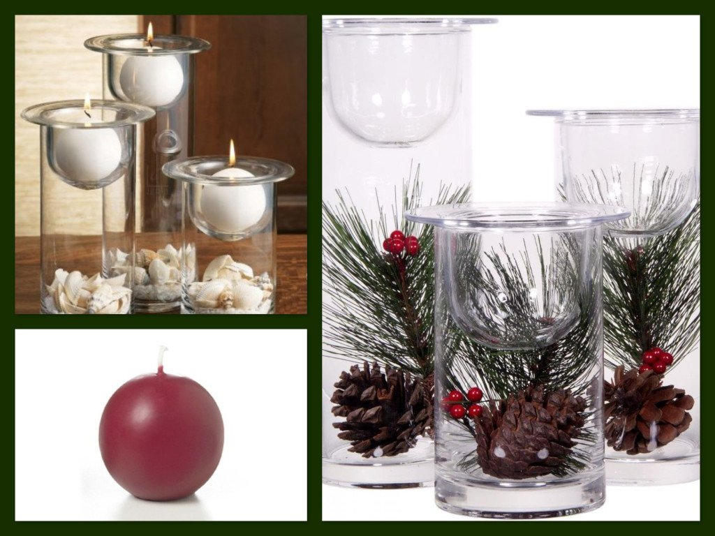 Christmas Centerpiece Ideas Glass Hurricanes Candle