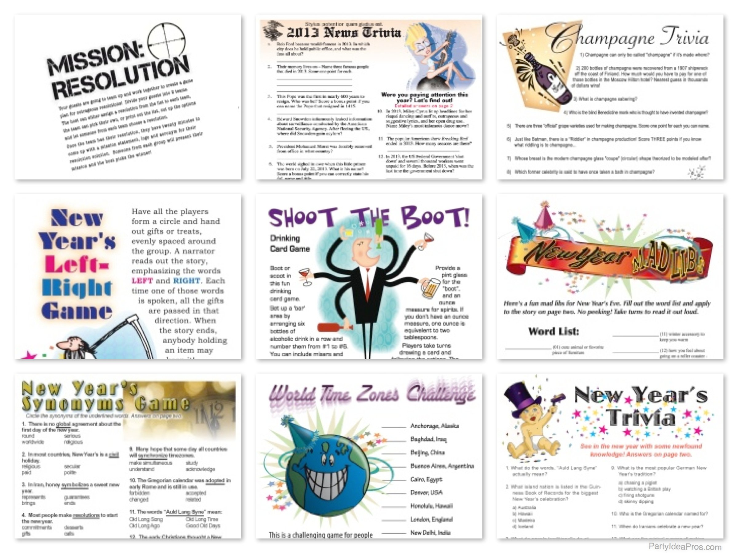 New Years Party Printable Games