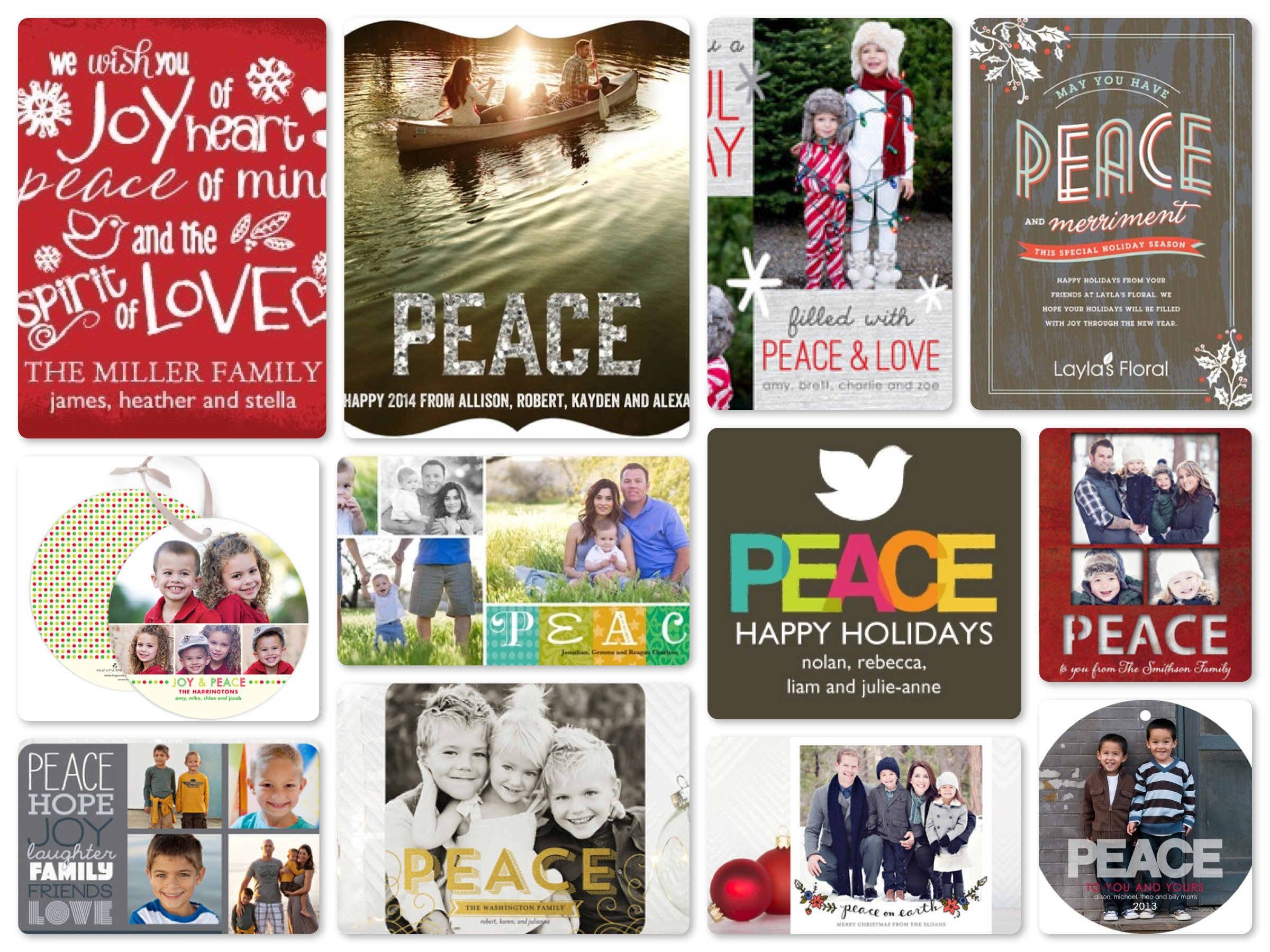 Peace New Year Cards, Season Greetings Cards