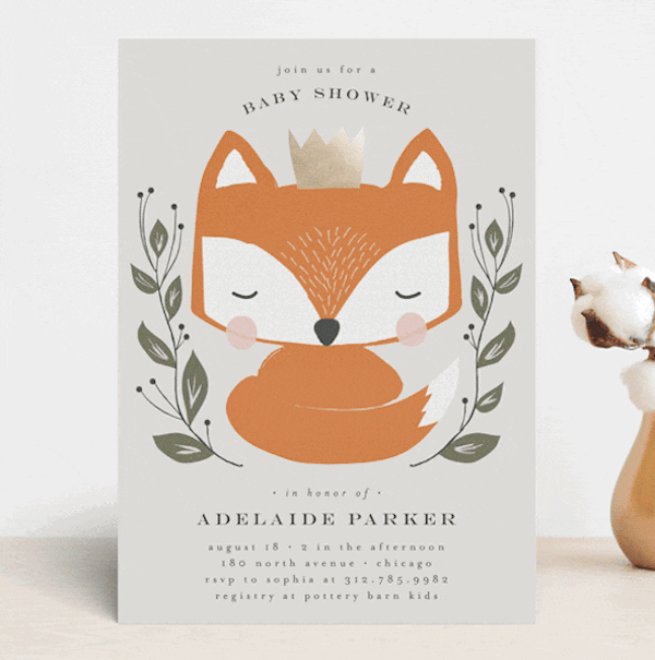Royal Fox Customizable Foil-pressed Baby Shower Invitations