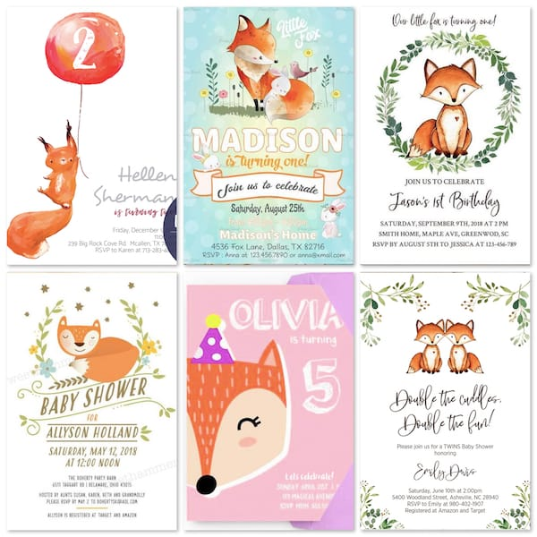 Fox Birthday Party and Baby Shower Invitations