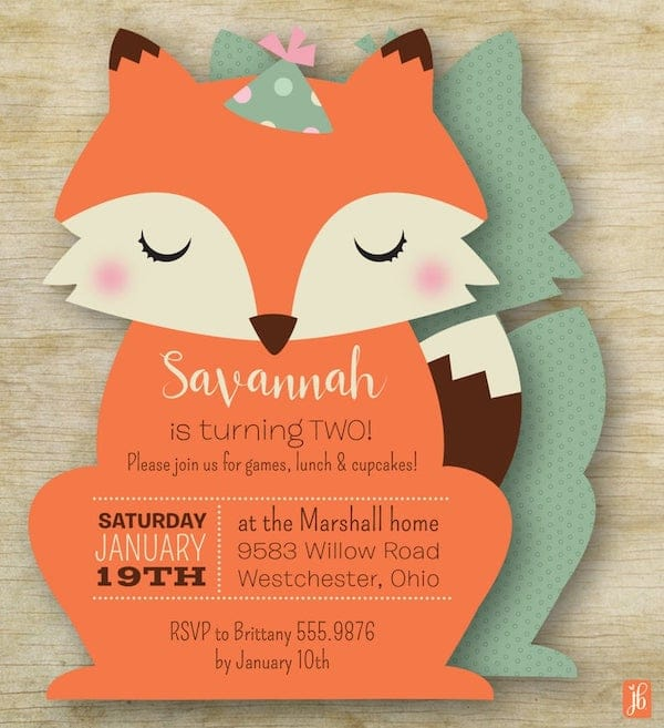 Little Fox Birthday Invitation