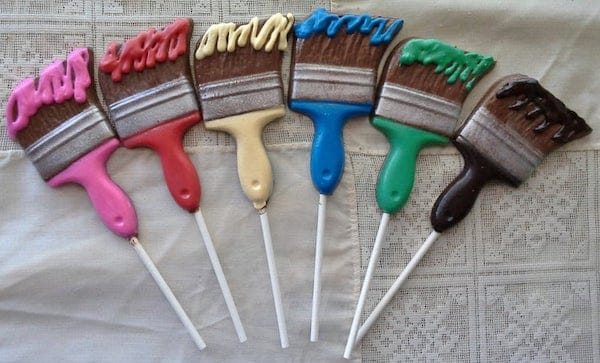 Paint Brush Shaped Candy and Lollipops