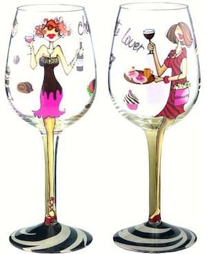 Chocolate and Wine Make Everything Fine Handpainted Wine Glass
