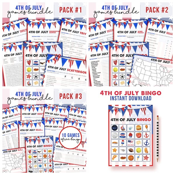 Printable 4th of July Game Bundles