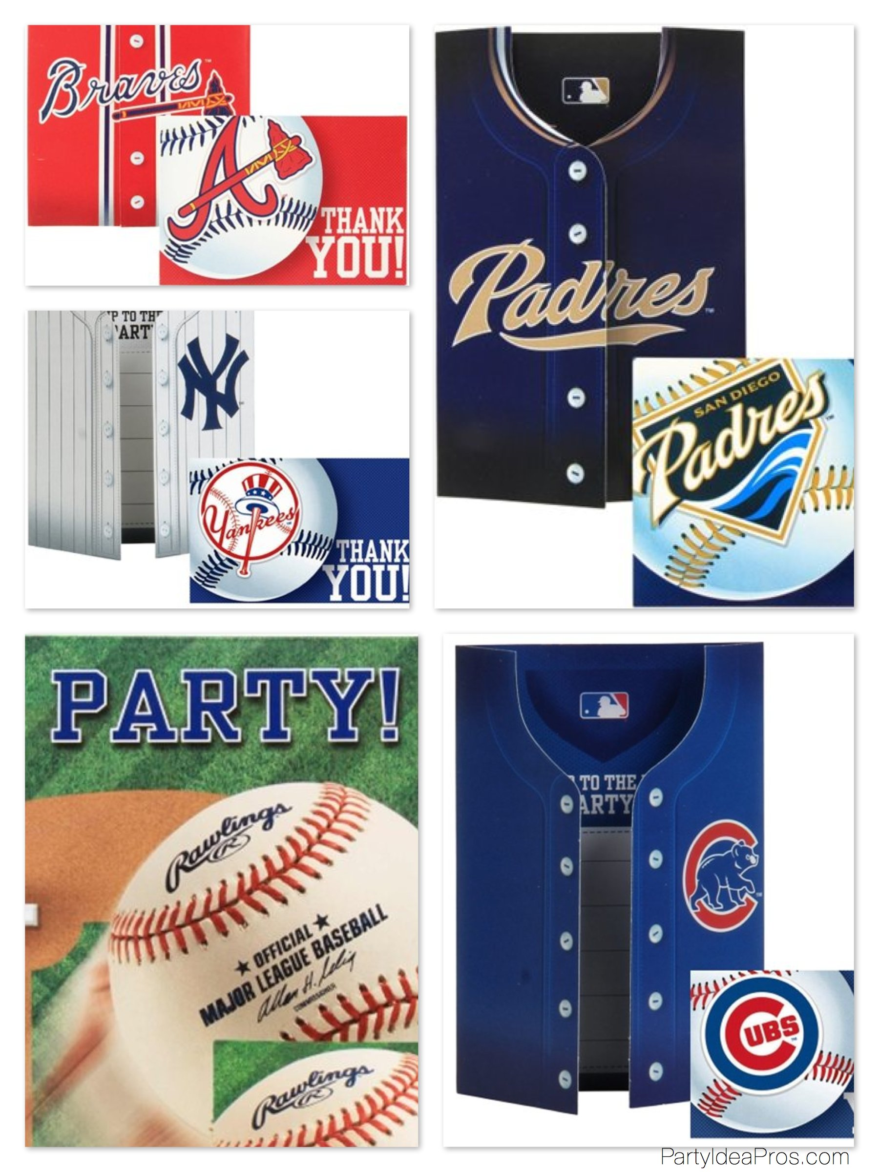 Baseball MBL Team Party Invitations & Thank You Notes
