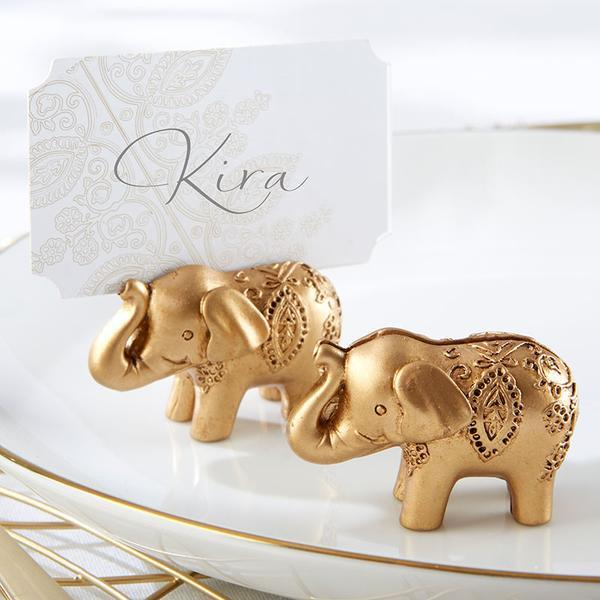 Gold Lucky Elephant Place Card Holder