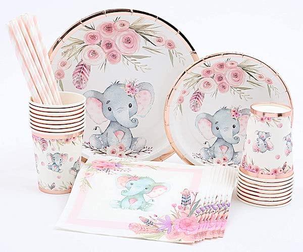 Rose Gold Foil Elephant Party Supplies