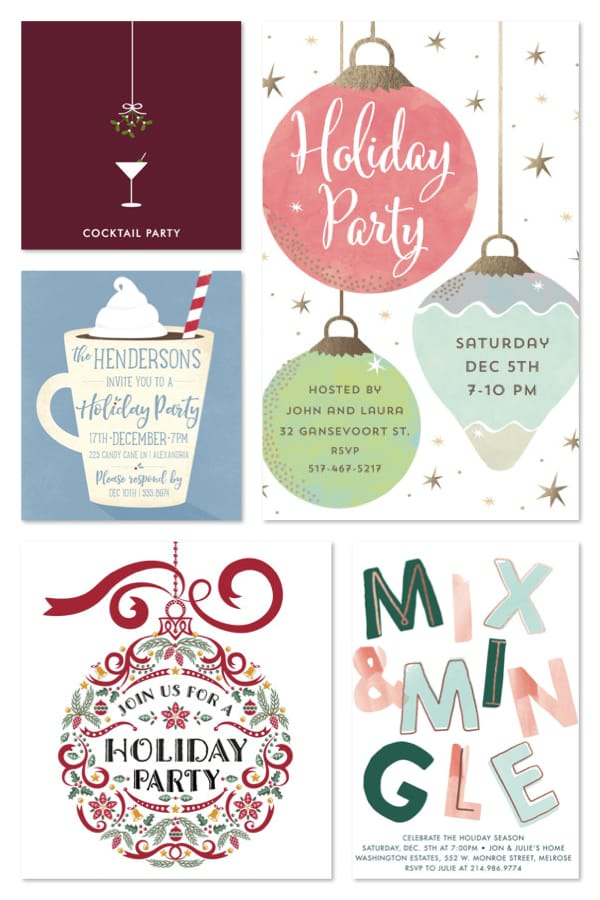 Festive Holiday Party Invites