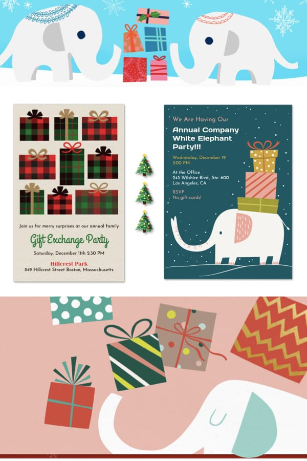 White Elephant Gift Exchange Holiday Party Digital Invites
