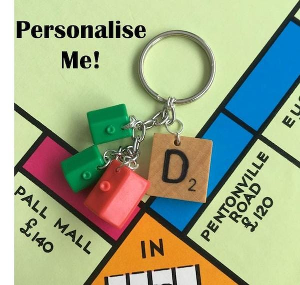 Personalized Monopoly Scrabble Style Keyring