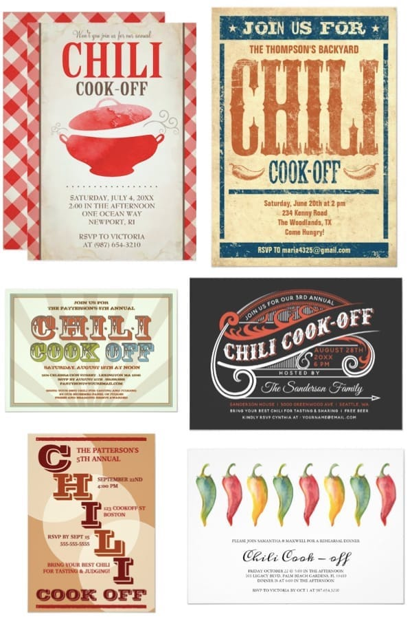 Chili Cook Off Dinner Party Invites