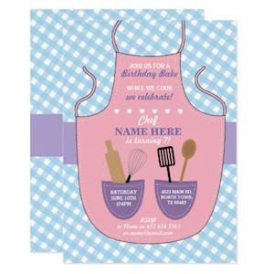 Girls Birthday Party Baking Apron Invite